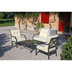 Set Flipper. Arredo moderno per giardino composto da un divano a due posti, due poltroncine e un tavolino.