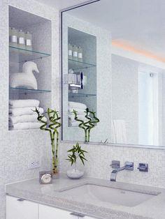 bathroom storage and tile