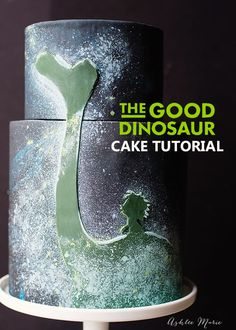 a full video tutorial for this glow in the dark cake, depicting Spot and Arlo from Disneys The Good Dinosaur