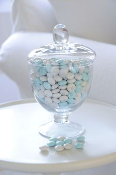 boy's christening - blue and white M&Ms
