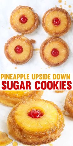 Pineapple Upside Down Cookies - Pineapple upside down cake in cookie form because everyone loves cookies! Soft sugar cookie bottoms with a ring of pineapple and cherry center all covered in a brown sugar glaze! Köstliche Desserts, Delicious Desserts, Dessert Recipes, Yummy Food, Bite Size Desserts, Tasty, Healthy Food, Healthy Eating, Pineapple Cookies