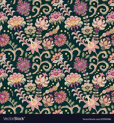 Seamless floral background pink flowers and leafs vector image on VectorStock Print Ideas, Dark Backgrounds, Creative Inspiration, Adobe Illustrator, Pink Flowers, Vector Free, Leaves, Patterns, Digital