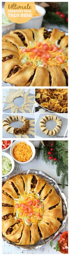 Ultimate Crescent Roll Taco Ring This isnt just any old taco ring its filled with corn chips guacamole sour cream cheese and tomatoes easy and delicious ready to serve. Beef Recipes, Mexican Food Recipes, Snack Recipes, Cooking Recipes, Yummy Recipes, Family Recipes, Dinner Recipes, Crescent Roll Taco Ring, Crescent Rolls
