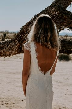 """The """"Fin"""" Scalloped Eyelash Lace Wedding dress is fully lined throughout the bodice and skirt with ivory satin. The cap sleeves are left unlined Bohemian Lace Dress, Bohemian Wedding Dresses, Wedding Dress Styles, Lace Wedding, Industrial Wedding, Try On, Bodice, Backless, Photoshoot"""