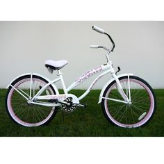 "Kids Bikes Pearl White Girls Beach Cruiser 24 inch Extended Frame by GreenLine. $239.00. 24"" 36H Heavy Duty Chrome Plated Stainless Steel Spokes. Extended / Oversized Hi-Tensile Steel Cruiser Frame. 22.5"" Wide Oversized Chrome Plated Handle Bar w/ Tilt & Telescope. Body Colored Front & Rear Duck Tail Fenders. Ladies 24 Inch Deluxe "" Orange"" Beach Cruiser"