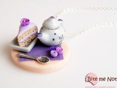 Tea time table with pastry necklace polymer clay by BiteMeNot, €25.00