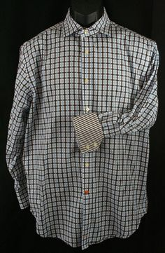 Thomas Dean Men's Shirt Flip Cuff Long Sleeve Size M 100% Cotton Checks EUC #ThomasDean #ButtonFront