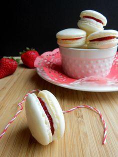 Strawberry Shortcake Macarons #recipe from culinarycoutureblog.com