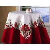 Embroidered Holiday Poinsettia Table Linens