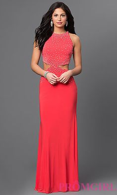 High Neck Beaded Long Prom Dress With Side Cut Outs at PromGirl.com