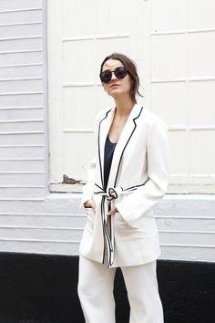 White Pyjamas Streetstyle look for Copenhagen Fashion Week