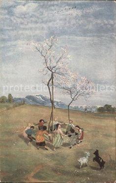 Thoma Hans Fruehling Bruckmanns Bildkarte Nr. 45 Kinder Tanz Ziegen Kat…