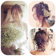 結婚式当日の髪型や、前撮り/フォトウェディングの髪型をお悩みのプレ花嫁さん!今、おしゃれ花嫁さんの間で人気上昇中の 「かすみ草」 をヘアアレンジに取り入れてみてはいかがでしょうか?* 愛らしい 「かすみ草」 は、花嫁さんの純真さを輝かせてくれ、ふんわり可愛らしい花嫁姿に演出してくれるのです♪