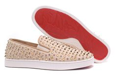 Christian Louboutin Roller 1c1s Spikes Suede Mens Flat Sneakers Nude Gold…