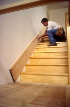 Builds up to 16000 Carpentry Projects - How-To - scribe a stair skirt board. Lesson derived from the guy that taught Norm. Builds up to 16000 Carpentry Projects - Get A Lifetime Of Project Ideas and Inspiration! Stairs Skirting, Stairs Trim, Skirting Boards, Stair Trim Ideas, Wainscoting Stairs, Stair Skirt Board, Escalier Design, Basement Stairs, Basement Ideas