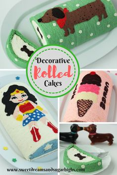 Lovely Roll Cake Decoration throughout Decorative Rolled Cakes - Sweet Dreams And Sugar Highs Image Cake Decorating Techniques, Cake Decorating Tips, Cookie Decorating, Ice Cream Cake Roll, Decorate Your Own Cake, Special Birthday Cakes, Fruit Roll Ups, Chiffon Cake, Cake Cookies