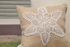 Burlap and Vintage Lace Pillow Cottage Beach House by LolaAndBea, $12.00
