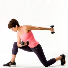 Get a trim upper body with this Kickback Curl exercise. For added difficulty and to work the lower body, add a lunge in between each curl. #fitness