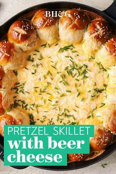 Cheese dip is good. Beer-cheese dip is even better. And beer-cheese dip served with pretzels? Downright irresistible! This pull-apart pretzel appetizer recipe will have everyone wanting the last bite. #appetizers #entertaining #beercheeserecipe #homemadepretzels #softpretzelrecipe #bhg