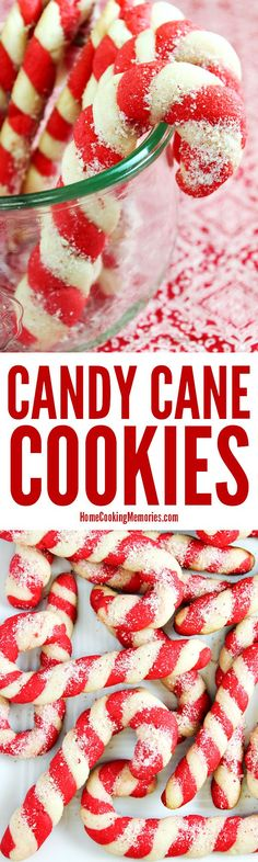 Christmas Candy Cane Cookies recipe! Made from an easy cookie dough recipe with festive peppermint flavor. The colorful dough is twisted to look like a candy cane. A favorite at holiday parties & cookie exchanges & swaps. Kids love to leave these out on Christmas Eve for Santa! via @HomeCookMemory