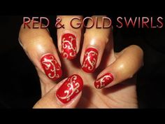 12 Days of Christmas | Red & Gold Swirls | DIY Nail Art Tutorial - YouTube
