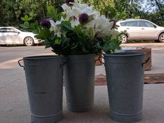 2 1/2 feet tall metal pails for aisle decor, centrepieces, general decor.