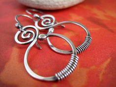 Spiral Earrings Sterling Silver Hoop Style by CinnamonJewellery