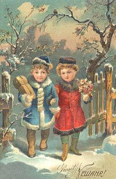 Beautiful Christmas Cards, Old Christmas, Vintage Christmas, New Year Wishes, Stay Happy, Vintage Postcards, Victorian, Antiques, Cute