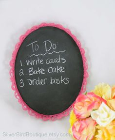 Vintage Ornate Framed Chalkboard, Upcycled, Shabby Chic, Wedding, Bright Pink, Oval Chalk Board Frame, Message Board, Repurposed by SilverBirdBoutique