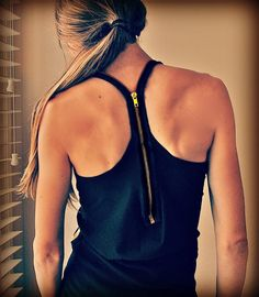 Trash To Couture: Plain tank + zipper = cool racer-back rockin it