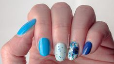 Blue and blue floral nail art using piCture pOlish Geode, OPI Fearlessly Alice, OPI Dating A Royal, Lina Let's Doodle 02