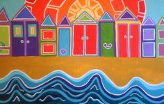 Beach Huts Acrylic on Canvas