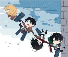 Attack on Titan || Shingeki no Kyojin || Levi, Mikasa, Eren and Armin•