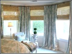 Fantastic Cute High Ceiling Window Treatments With Green Curtains Featuring Wicker Track Curtain And Indoor Plant of High Ceiling Window Treatments Decor Ideas high ceiling decorating high ceiling design ideas floor to ceiling draperies Bay Window Curtains, Drapes And Blinds, House Blinds, Bamboo Blinds, Green Curtains, Blinds For Windows, Drapes Curtains, Bay Windows, Drapery