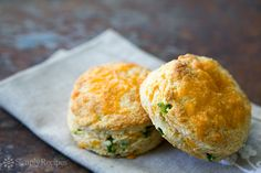 Cheddar and Jalapeño Biscuits ~ Light and airy cheesy biscuits packed with sharp cheddar and spicy fresh jalapeños.  ~ SimplyRecipes.com