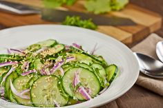 Cucumber Salad. the crunchy texture of a good cucumber mixed with the zing of rice wine vinegar
