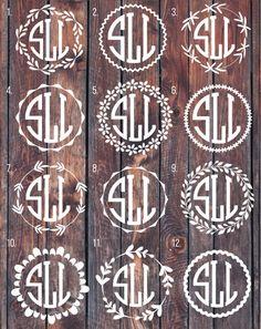 Monogram decal, Monogram sticker, circle monogram, greek letters monogram, yeti…