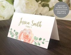 Place Card Template Printable Guest Name card folded place
