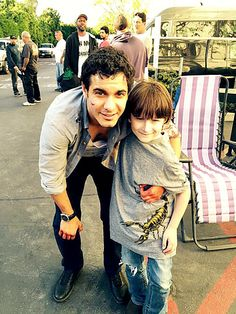 Elyes Gabel and Riley B Smith on the set of Scorpion