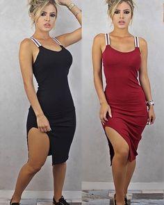 Vestido em tecido canelado e com bojo R$65,00. . Disponível nessas duas cores