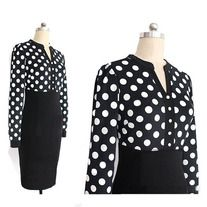 This bodycon dress is in fashion European style with sweet polka dot print, false two-piece patchwork design, slim package hip hem, pullover V neck and long sleeves. It is soft and comfortable to wear. It can show your personality perfectly. It is a perfect option for you, act now.  Features: ...