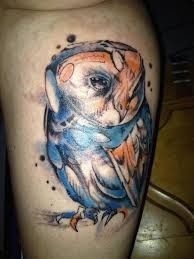Watercolor owl tatoo http://fyeahtattoos.com/post/45828413185/watercolor-owl-named-picasso-done-by-tyler