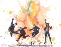 The Beatles Watercolor Painting Print - Fine Art print 8 X 10 in. Beatles Art From Original Watercolor Painting on Etsy, $18.00