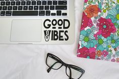 Good Vibes Laptop, Car Vinyl Decal Sticker, Good Vibes Only Hippie Decal, Macbook Decal, Peace and Love Quote Decal by ShayButterMonograms on Etsy