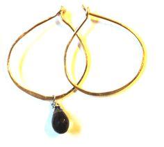 Birch hoop + smoky quartz stone www.zahavah.com