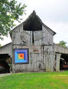 Barn quilt in Hardin Co., Illinois.  I think the quilt is the only thing holding it together :)