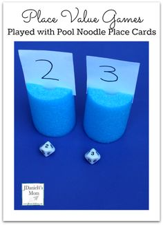 Place Value Games Played with Pool Noodle Place Cards from JDaniel4's Mom