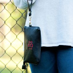 Monogram Wristlet in Black Leather Like with by HoopandStitch