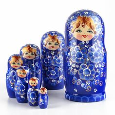 Beautiful Blue 7pc Nesting Doll