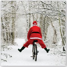 Santa seems to have lost his reindeer, so he had to use a bike instead. I wonder how fast he can go on that bike????